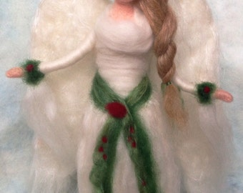 Waldorf Angel Tree Topper Needle Felted , Holly Berry Custom