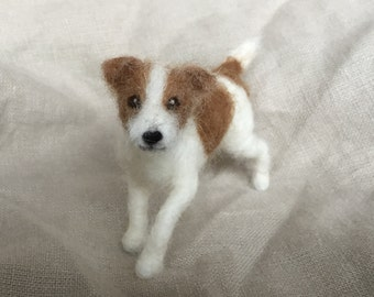 Needle Felted Small Dog Pet Portrait Jack Russell Terrier