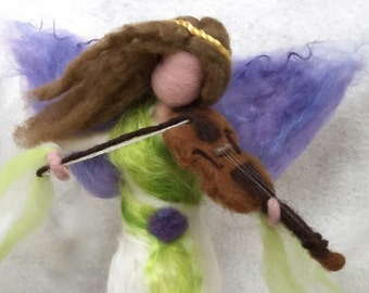 Christmas Angel Tree Topper Needle Felted Fairy , Waldorf, Musical Instrument