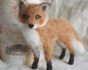 Needle Felted Fox Cub, Red Fox, Poseable