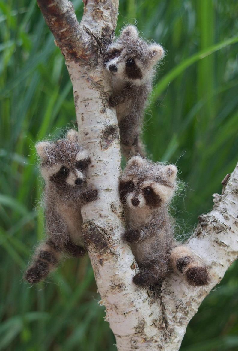 Raccoon Felted Miniature  Poseable Tiny Woodland Animal image 0