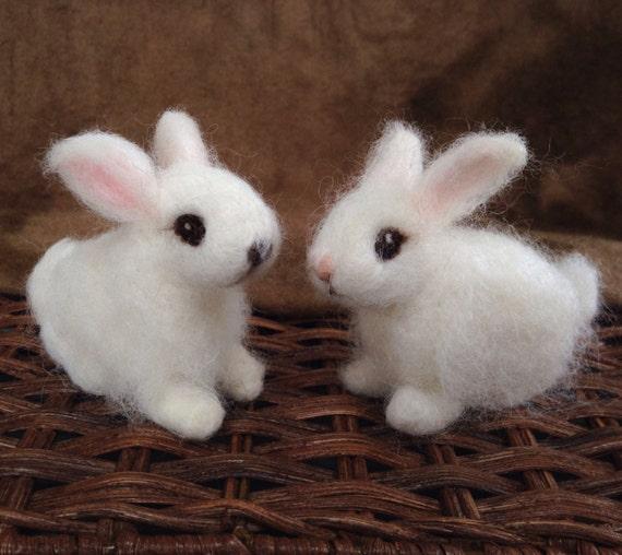 Image of: Baby Bunnies Naald Vilten Witte Bunny Rabbit Baby Etsy Naald Vilten Witte Bunny Rabbit Baby Etsy
