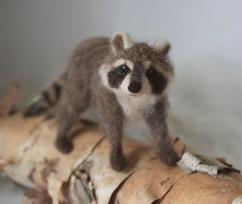 Raccoon Needle Felted Miniature Wool Animal Realistic image 0