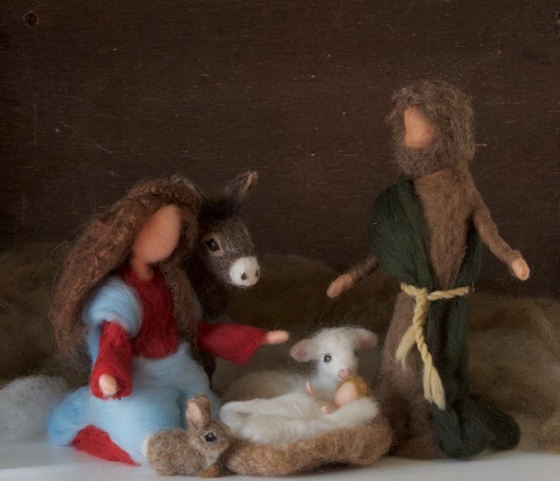Needle Felted Nativity Set Christmas Mary Joseph Baby image 0