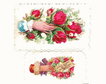 Victorian sayings etsy lot of 3 victorian calling cards die cut embossed hands roses sayings lot 6 m4hsunfo