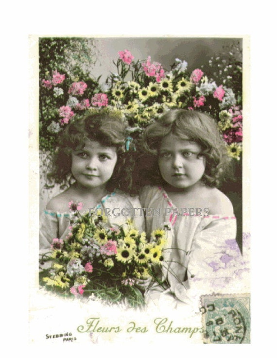 3 Little Girls by CHRISTMAS Tree with Big DOLL Beautiful Hand Tinted 1904 FRENCH Real Photo Postcard