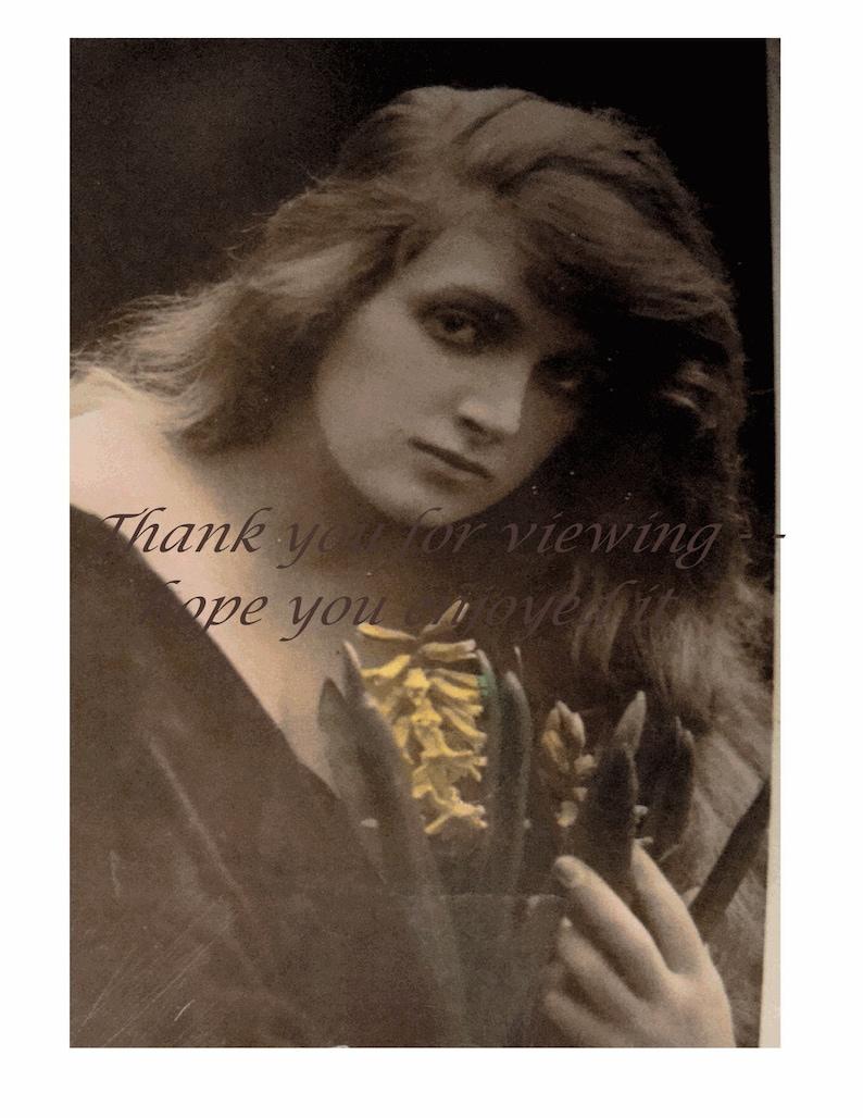 Vintage Real Photo Postcard - Beautiful British Actress GLADYS COOPER -  Rare LoNG HaIR - Sepia and Pastel Tints