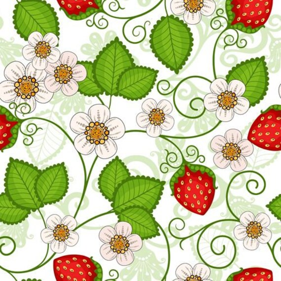 Dollhouse Miniature Wallpaper Strawberries Floral Flowers 1:12