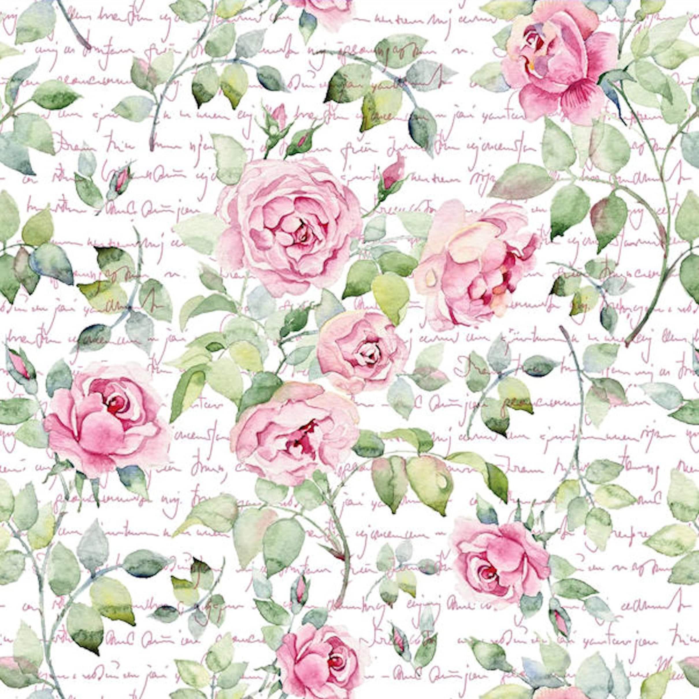Dollhouse Miniature Shabby Chic Wallpaper Roses Victorian Etsy