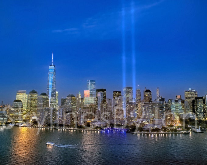 CANVAS New York City NYC Skyline DUSK Tribute in Lights Lower Manhattan Panoramic Photo Cityscape
