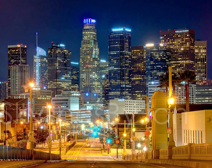 CANVAS Los Angeles Skyline NIGHT View from East LA Cityscape Photo Print