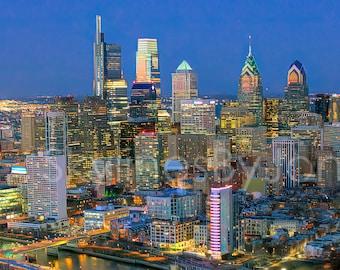 Philadelphia Philly 2019 Skyline NIGHT Photo Poster Cityscape Downtown Print Aerial