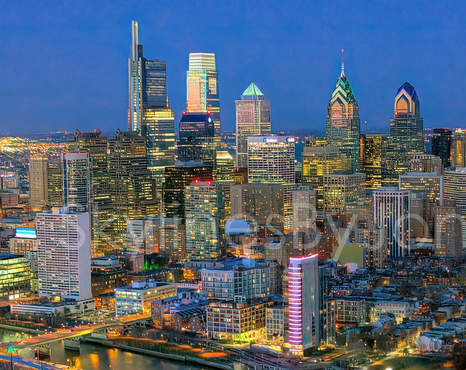 Philadelphia Philly 2019 Skyline NIGHT Photo Poster Cityscape Downtown Print Aerial