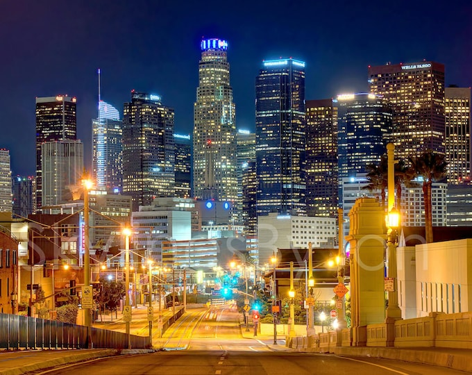 Los Angeles Skyline NIGHT View from East LA Signed Print - Cityscape Photo