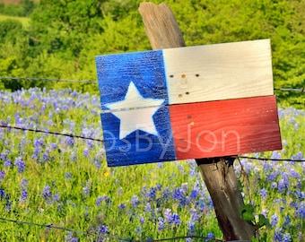 Texas Springtime  Rustic Flag Sign Bluebonnets original photograph - Canvas Art Wild Flowers Landscape Photo