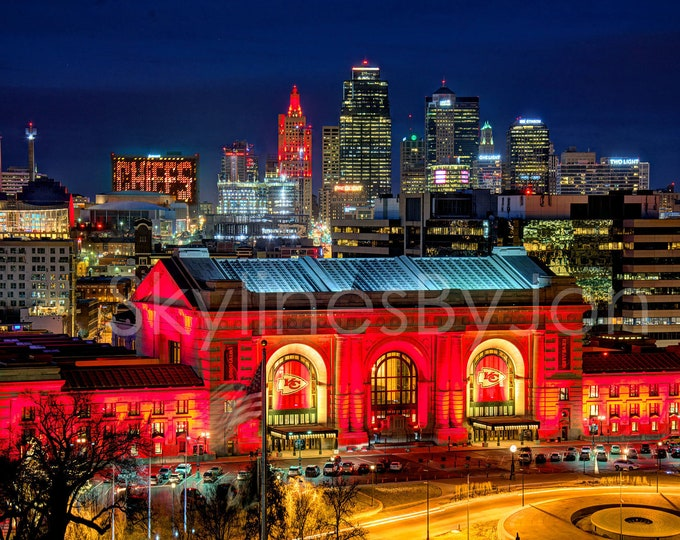 Kansas City KC Skyline NIGHT Photo Poster Cityscape Downtown Print Union Station Chiefs Red ChiefsKingdom