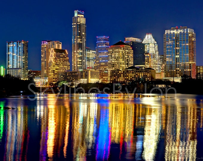Austin Skyline at NIGHT Panoramic Photo Poster Cityscape Print Standard Frame Size