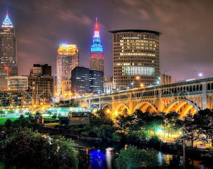 Cleveland Skyline at NIGHT Detroit Ave Bridge Panoramic Photo Poster Cityscape Print Standard Frame Size
