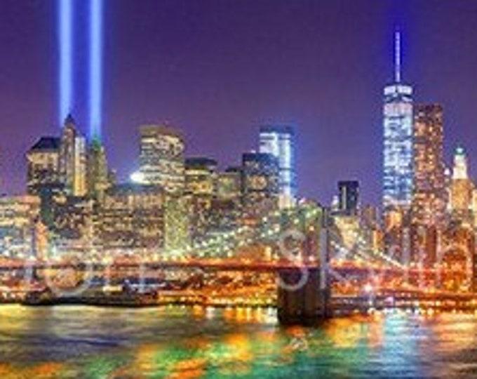 CANVAS New York City NYC Skyline NIGHT Brooklyn Bridge Tribute Lights Lower Manhattan Panoramic Photo Cityscape