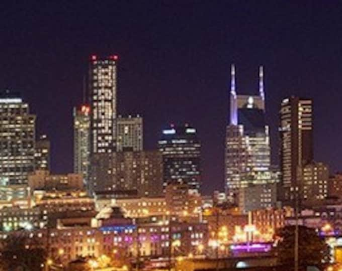 CANVAS Nashville Skyline 2018 NIGHT from West Panoramic Photo Print Cityscape