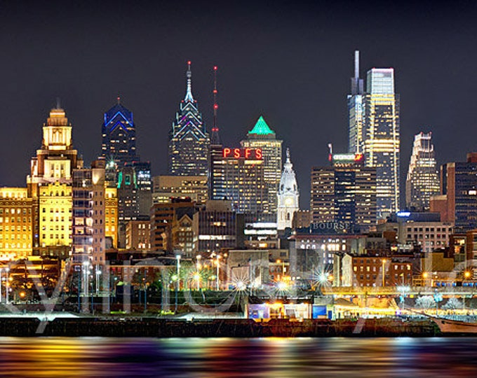 Philadelphia Skyline 2018 Night Color or BW Philly Panoramic Photo Poster Cityscape Print