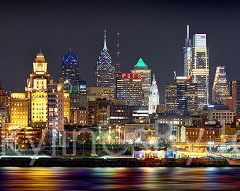 CANVAS Philadelphia Skyline 2018 Night Color or BW Philly Panoramic Photo Cityscape Print