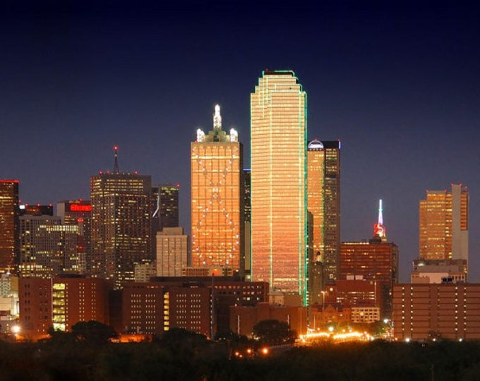 Dallas Skyline at DUSK Panoramic Print Panorama Poster Photo Picture
