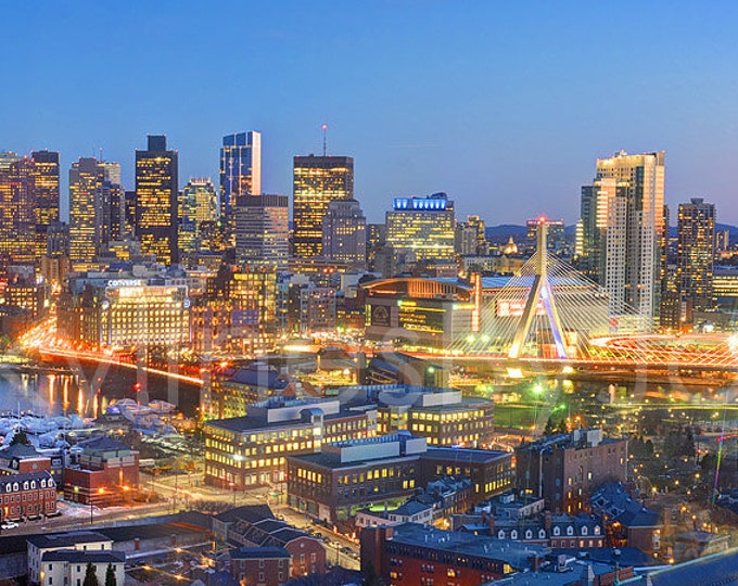 Boston Skyline 2018 Dusk Color or BW Panoramic Photo Poster Cityscape Print