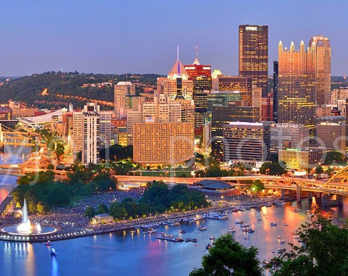 Pittsburgh Skyline at Dusk Sunset BORDERLESS COLOR or BW Panoramic Photo Poster Cityscape