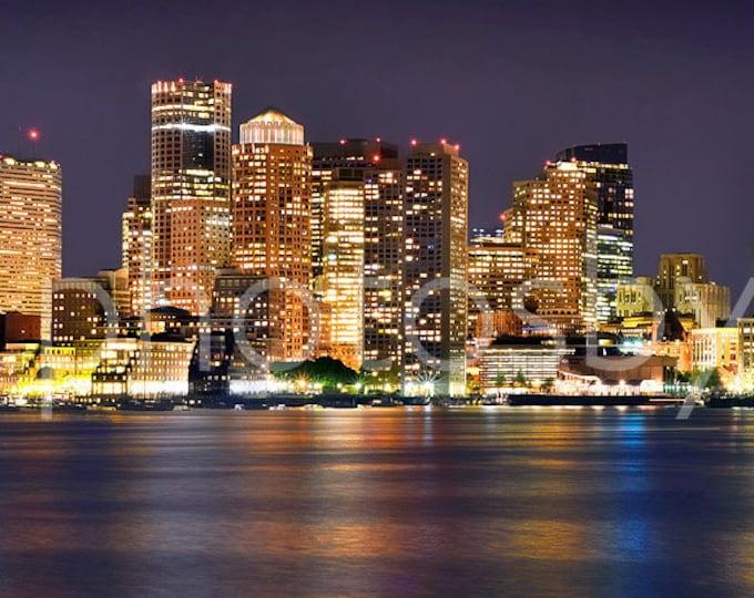 Boston Skyline NIGHT Boston Harbor Panoramic Photo Poster Cityscape