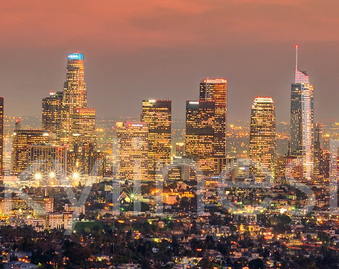 CANVAS Los Angeles Skyline 2019 DUSK LA Griffith Observatory Panoramic Photo Cityscape Print