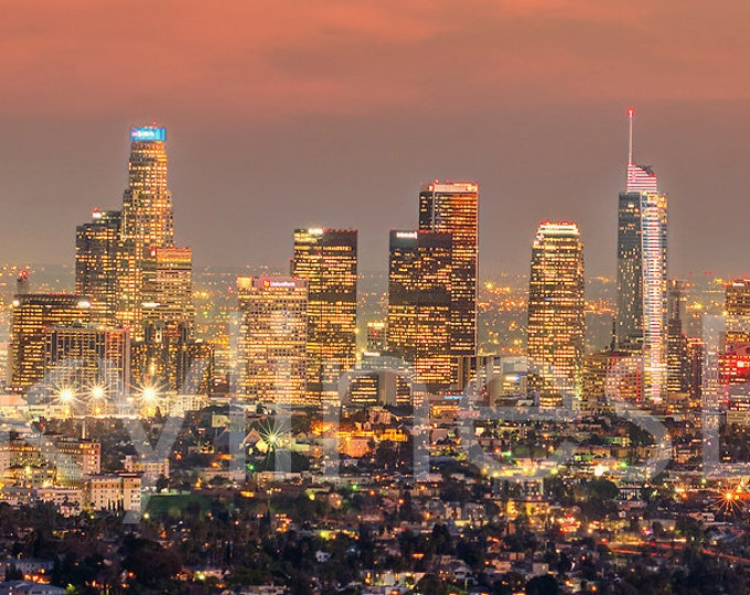 Los Angeles Skyline 2019 DUSK Griffith Observatory Panoramic Photo Poster Cityscape Print
