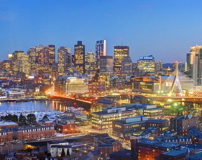 CANVAS Boston Skyline DUSK TD Gardens Panoramic Photo Cityscape Print