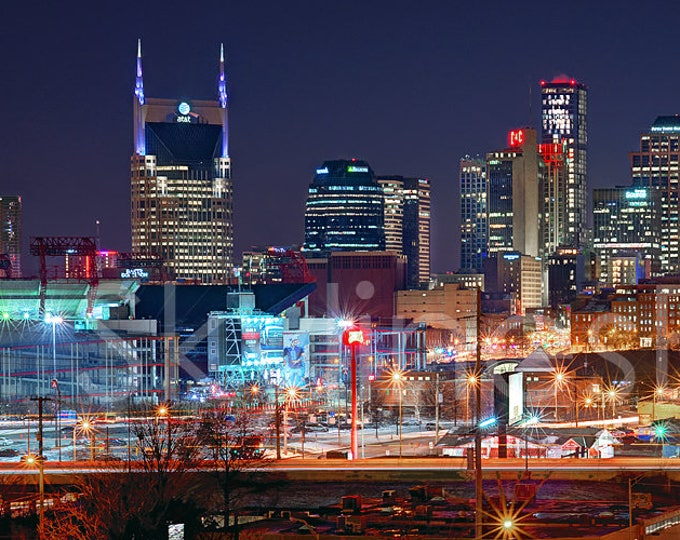 Nashville Skyline NIGHT 2018 Panoramic Photo Print Poster Cityscape
