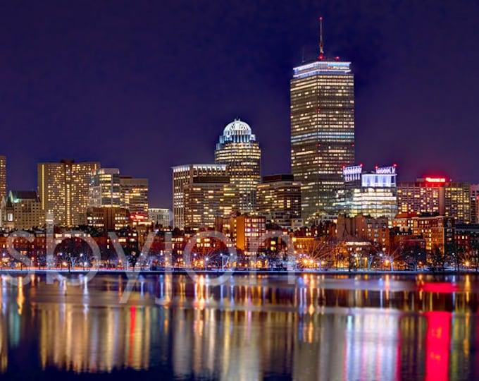 CANVAS Boston Back Bay Skyline 2017 NIGHT Charles River Panoramic Photo Cityscape Print