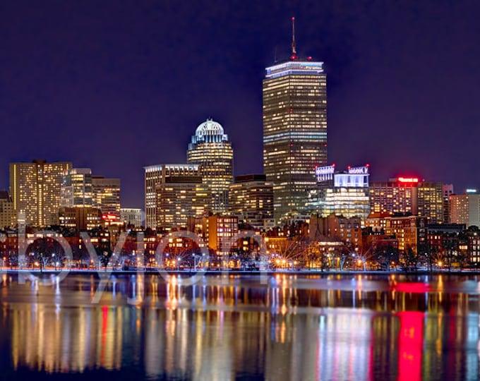 Boston Back Bay Skyline NIGHT 2017 Charles River Panoramic Photo Poster Cityscape Print
