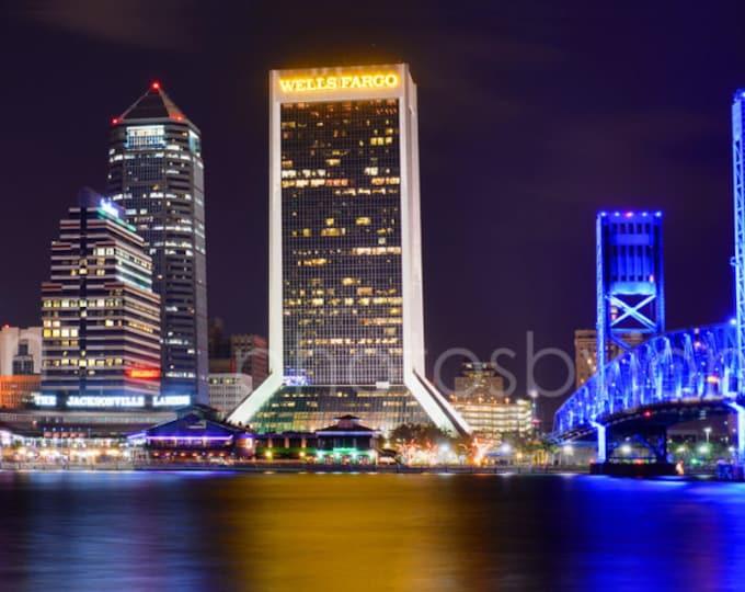 Jacksonville Skyline NIGHT Panoramic Photo Print Poster Cityscape JAX