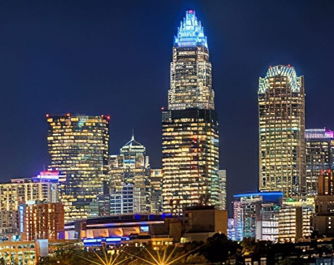 CANVAS Charlotte Skyline 2019 at NIGHT Color or BW Downtown Panoramic Photo Cityscape Print