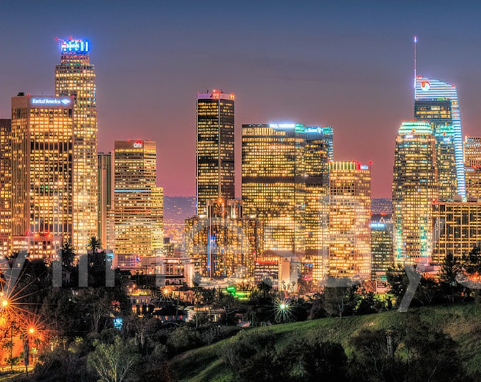 Los Angeles LA Skyline 2019 Dusk Panoramic Photo Poster Cityscape Downtown Print from Elysian Park