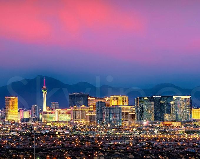 Las Vegas Skyline DUSK Panoramic Photo Poster Canvas Cityscape Downtown Print