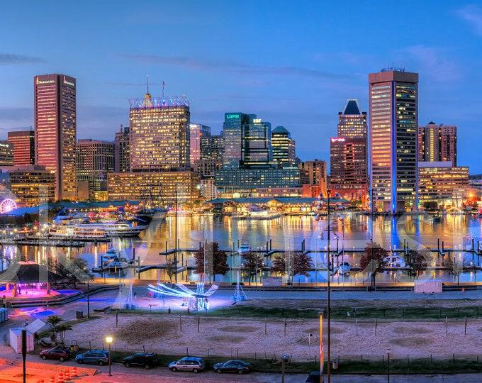 Baltimore Inner Harbor 2019 Skyline Panoramic Print Photographic Poster