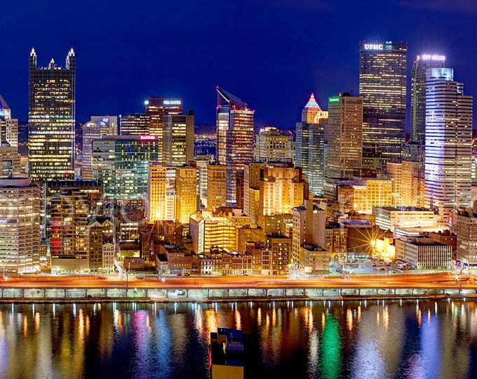 Pittsburgh Skyline at Night  2017 BORDERLESS COLOR or BW Panoramic Photo Poster Cityscape Print