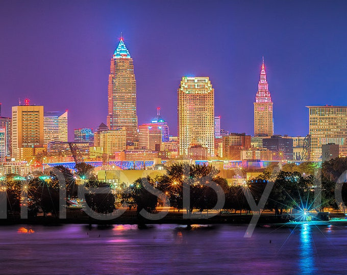 Cleveland Skyline 2018 NIGHT Panoramic Photo Poster Cityscape Downtown Print from Edgewater