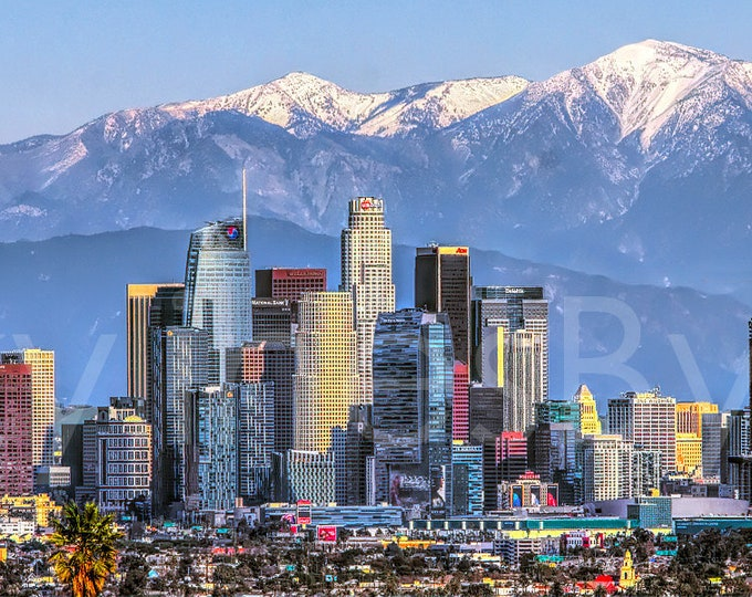 CANVAS Los Angeles Skyline 2019 Mountains View from West LA Photographic Panorama Print Photo Picture