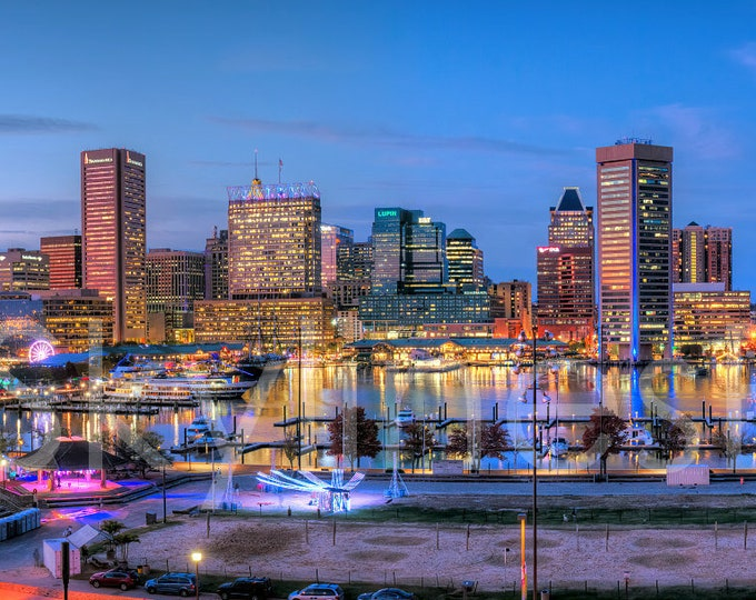 CANVAS 2019 Baltimore Inner Harbor Skyline Panoramic Print Photographic Cityscape