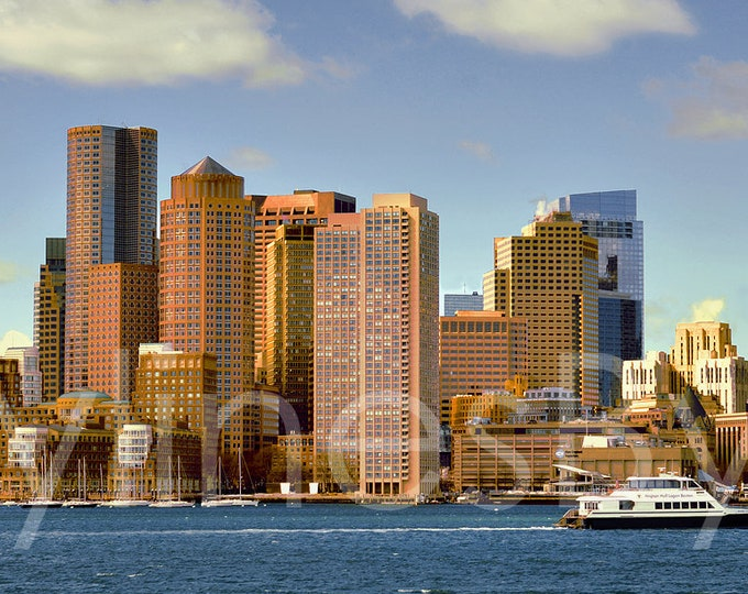 Boston Skyline Early Morning Panoramic Photo Poster Cityscape Print