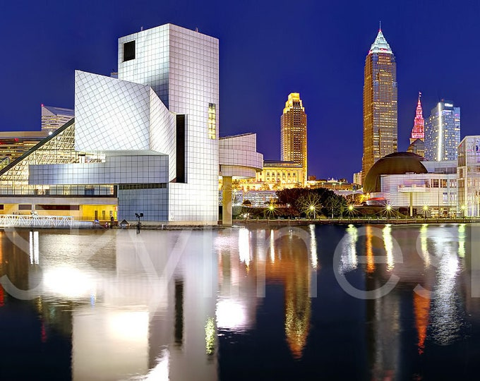 Cleveland Skyline at Dusk Panoramic Print Panorama Photographic Poster Picture Rock Roll Hall Fame