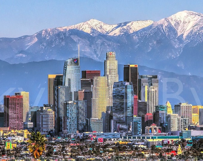 Los Angeles Skyline 2019 Mountains View from West LA Photographic Panorama Print Photo Picture