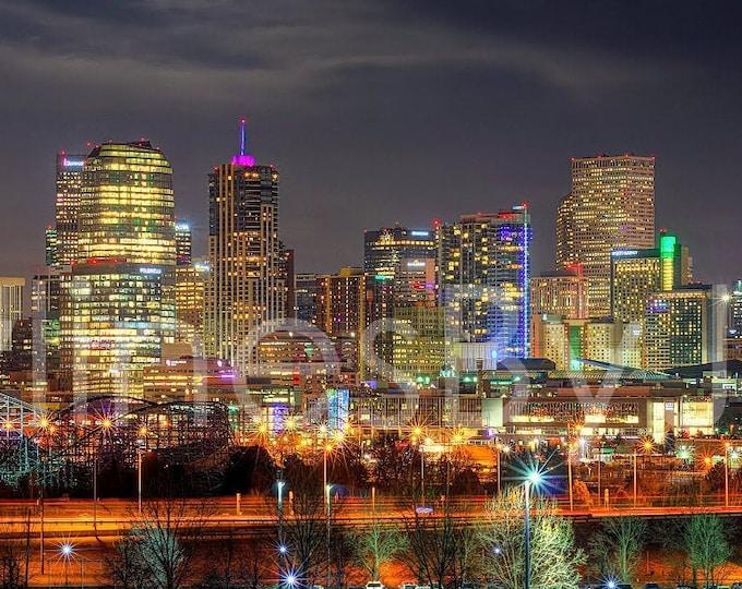 Denver Skyline NIGHT Broncos Panoramic Photo Poster Cityscape Colorado