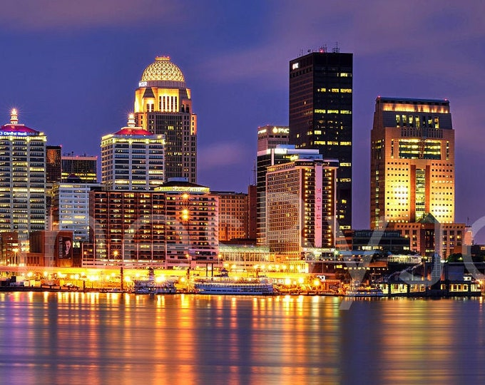Louisville Skyline Evening NIGHT River Panoramic Photo Print Cityscape Picture